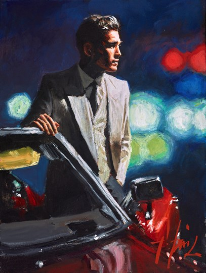 Jimmy With Red Cadillac by Fabian Perez - Original Painting on Stretched Canvas